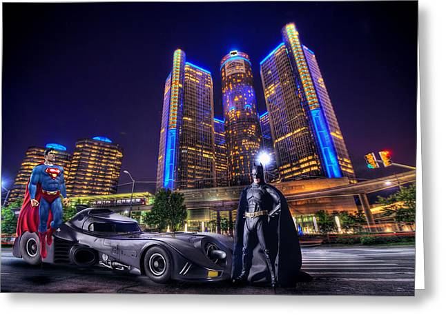Best Sellers -  - Renaissance Center Greeting Cards - Superman Batman In The D Greeting Card by B And G Art