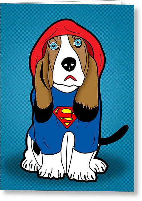 Funny Dog Digital Greeting Cards - Superman Dog  Greeting Card by Mark Ashkenazi