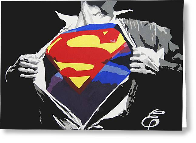 Printed Paintings Greeting Cards - Superman Greeting Card by Erik Pinto