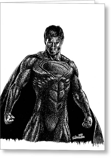 Superman Mixed Media Greeting Cards - Superman Ink Doodle Greeting Card by Kayleigh Semeniuk
