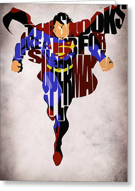 Typography Greeting Cards - Superman - Man of Steel Greeting Card by Ayse Deniz