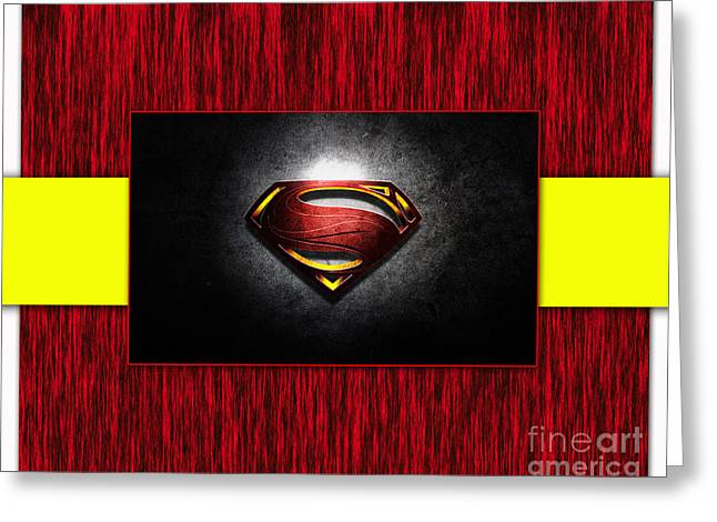 Superman Mixed Media Greeting Cards - Superman Greeting Card by Marvin Blaine