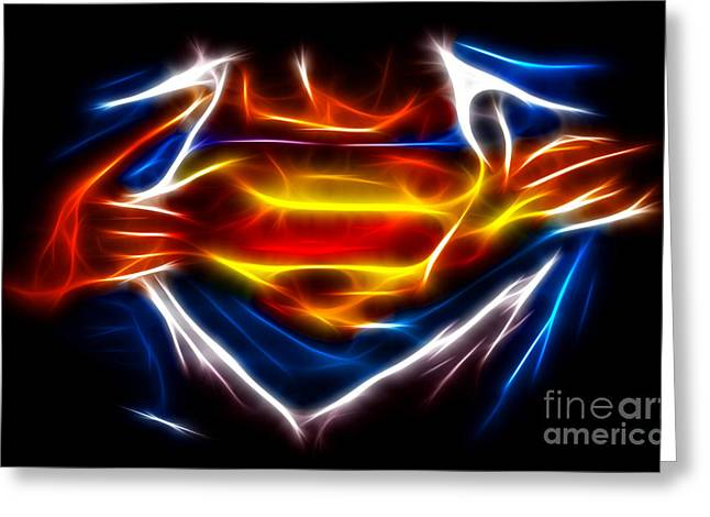 Movie Art Greeting Cards - Superman Greeting Card by Pamela Johnson