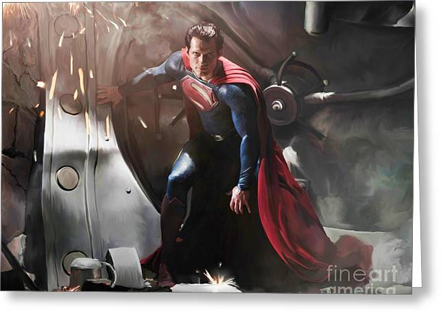 Portrait Artwork Greeting Cards - Superman Greeting Card by Paul Tagliamonte