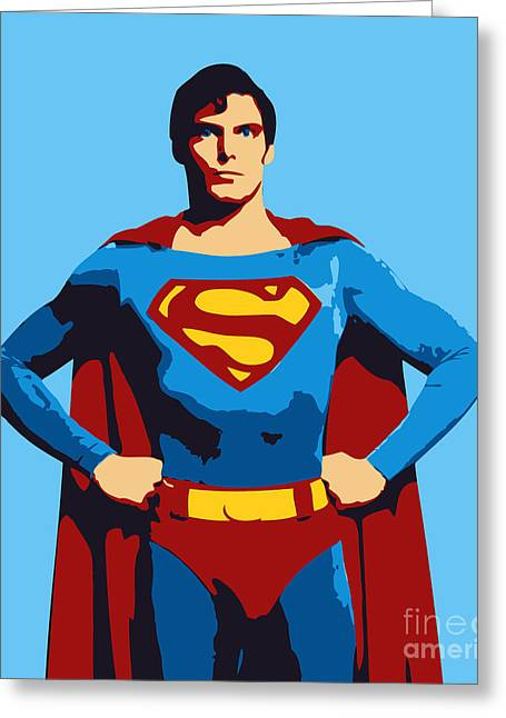 Superman Digital Greeting Cards - Superman Greeting Card by Pixel Chimp