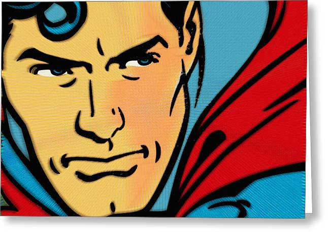 Empower Mixed Media Greeting Cards - Superman Pop Greeting Card by Tony Rubino