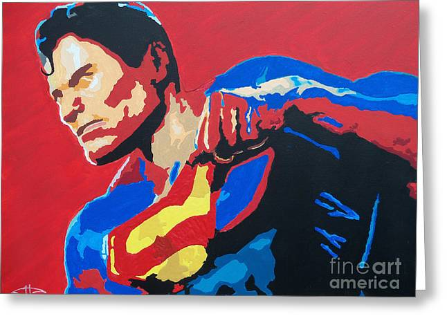 Superman - Red Sky Greeting Card by Kelly Hartman