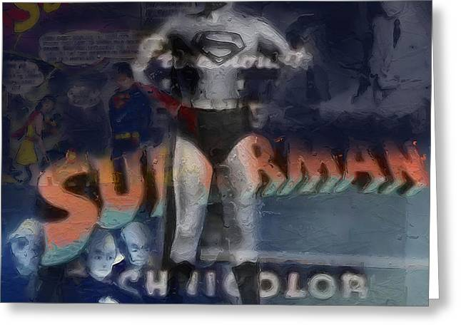 Superman Mixed Media Greeting Cards - Superman Greeting Card by Russell Pierce