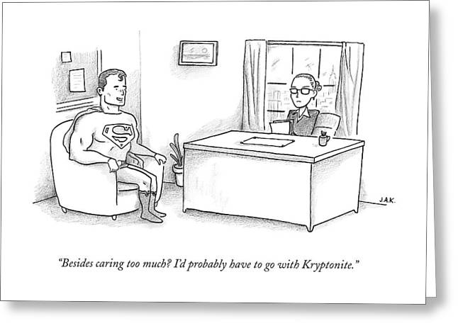 Superman Sits At A Job Interview Greeting Card by Jason Adam Katzenstein