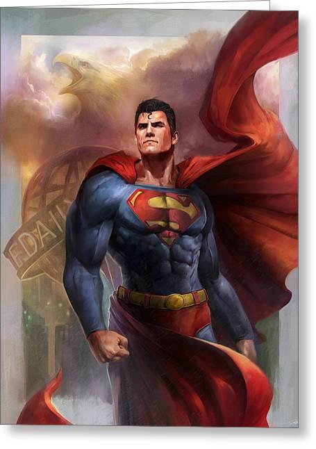 Super Digital Art Greeting Cards - Man of Steel Greeting Card by Steve Goad
