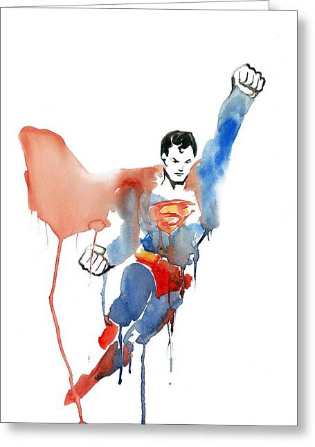 Dc Comics Paintings Greeting Cards - Superman Watercolour Greeting Card by Sarah McDonald