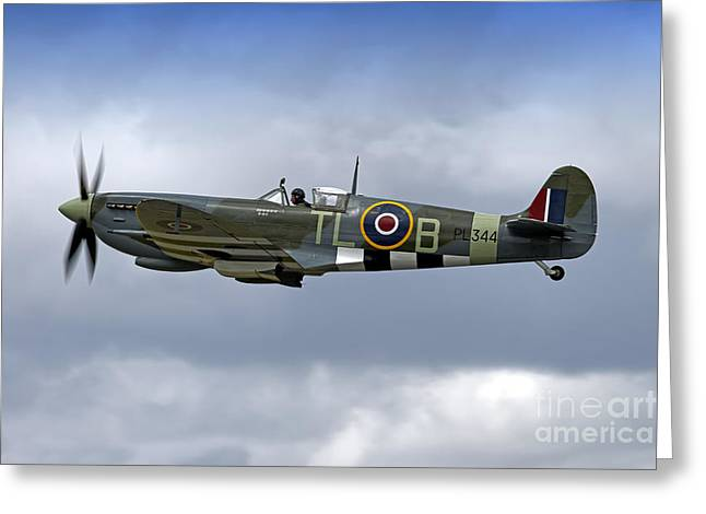 Mkix Greeting Cards - Supermarine Spitfire Mk IX  PL344/T- LB  G-IXCC Greeting Card by Andrew Harker