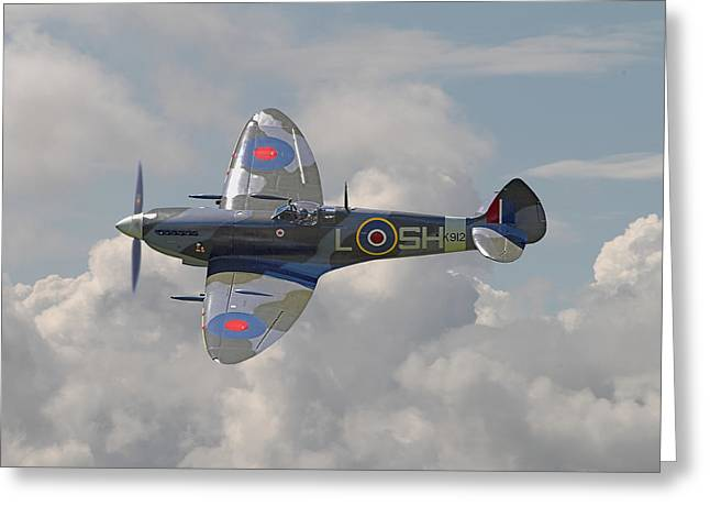 Combat Greeting Cards - Supermarine Spitfire Greeting Card by Pat Speirs
