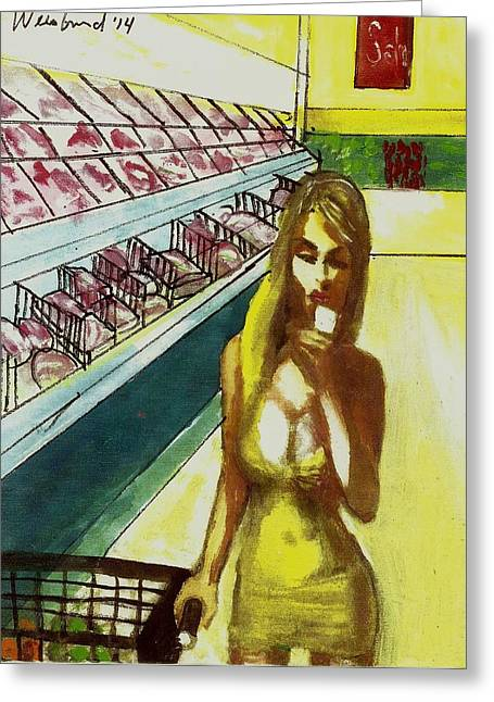 Low-cut Dress Greeting Cards - Supermarket Selfie California Style Greeting Card by Harry WEISBURD
