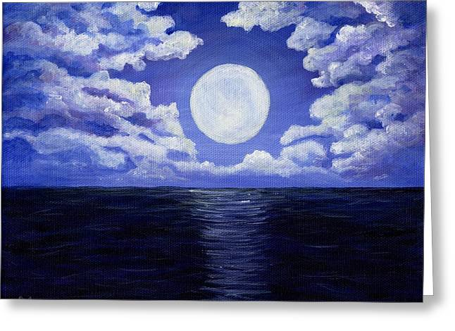 Atlantic Beaches Drawings Greeting Cards - Supermoon Greeting Card by Anastasiya Malakhova