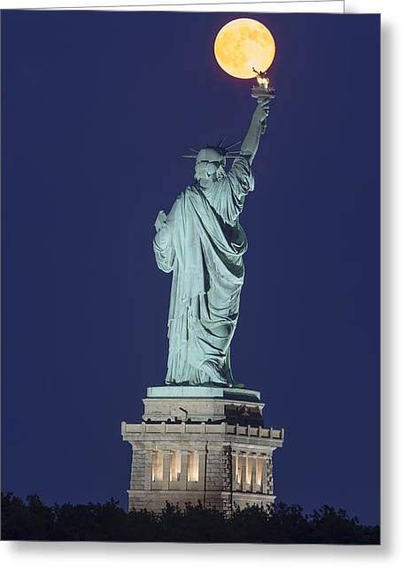 Statue Of Liberty Greeting Cards - Supermoon Illuminates New York City Greeting Card by Susan Candelario