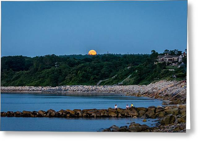 New England Ocean Greeting Cards - Supermoon Beachfront July 2014 Greeting Card by Black Brook Photography