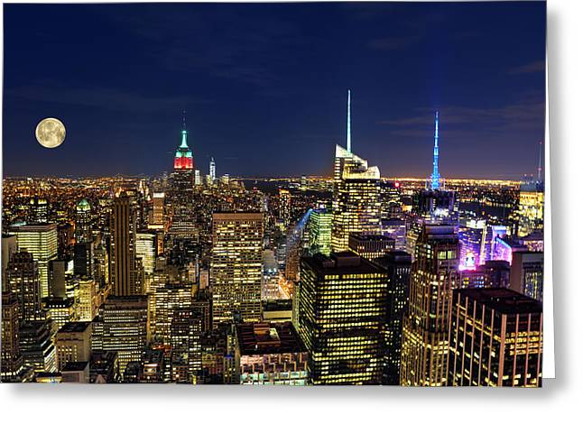 Wall Street Greeting Cards - Supermoon Over Manhattan Greeting Card by Lee Dos Santos