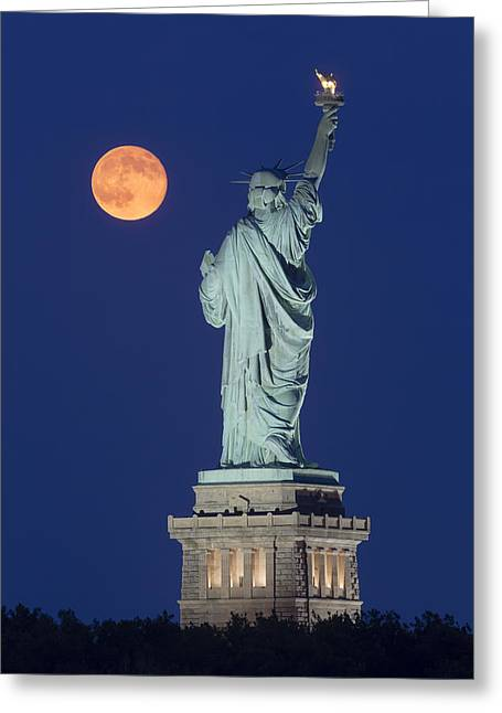 Statue Of Liberty Greeting Cards - Supermoon Over New York City Greeting Card by Susan Candelario