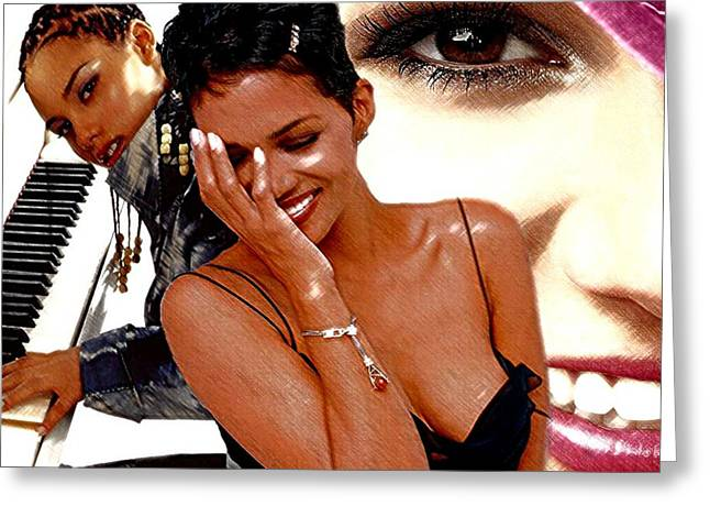 Halle Berry Greeting Cards - Superstars Greeting Card by Tony Ashley