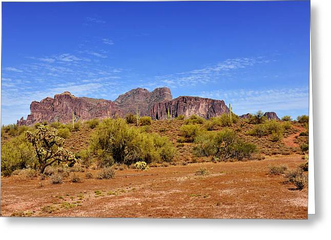 The Superstitions Greeting Cards - Superstition Mountains Arizona - Flat Iron Peak Greeting Card by Christine Till