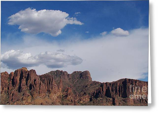 Crosswalk Greeting Cards - Superstition Mountains Greeting Card by Beverly Guilliams
