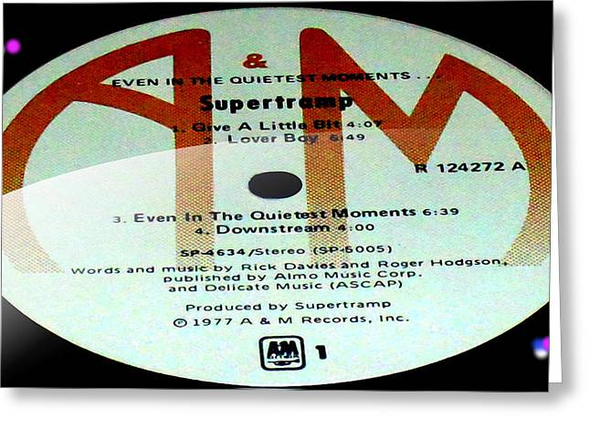 Overture Greeting Cards - Supertramp- Even in the quietest moments - Side A Greeting Card by Marcello Cicchini