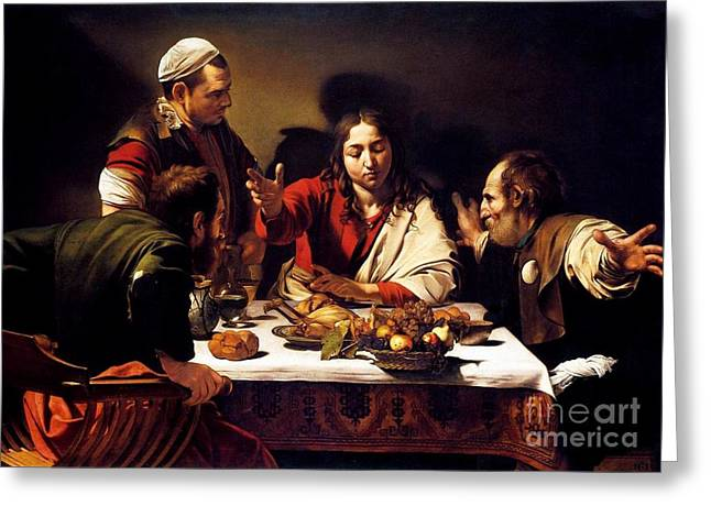Emmaus Greeting Cards - Supper at Emmaus Greeting Card by Pg Reproductions