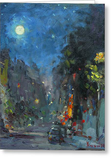 Street Lights Greeting Cards - Supermoon 2014 Greeting Card by Ylli Haruni