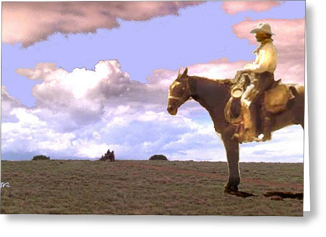 Lonesome Dove Greeting Cards - Supply Wagon Coming Greeting Card by Seth Weaver