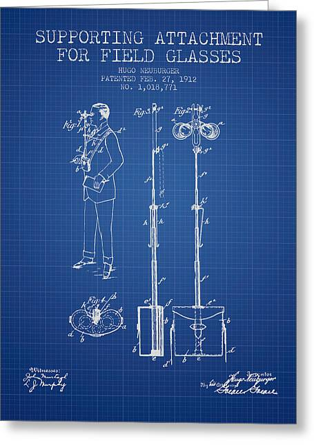 Glass Wall Greeting Cards - Support for Field Glasses Patent from 1912 - Blueprint Greeting Card by Aged Pixel
