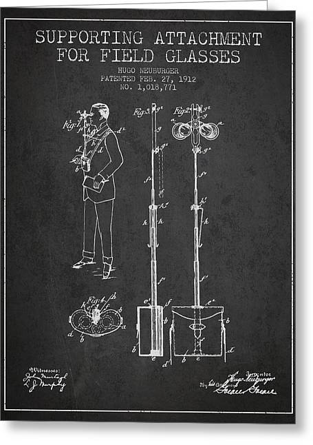 Glass Wall Greeting Cards - Support for Field Glasses Patent from 1912 - Dark Greeting Card by Aged Pixel