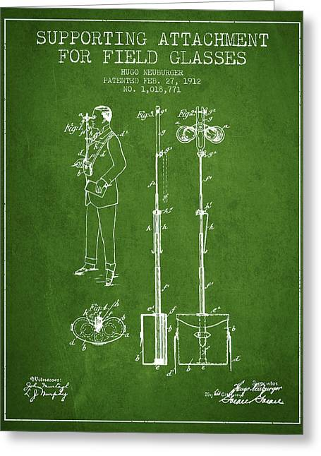 Glass Wall Greeting Cards - Support for Field Glasses Patent from 1912 - Green Greeting Card by Aged Pixel