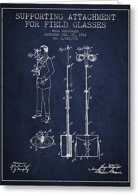 Glass Wall Greeting Cards - Support for Field Glasses Patent from 1912 - Navy Blue Greeting Card by Aged Pixel