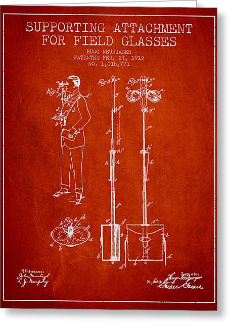 Glass Wall Greeting Cards - Support for Field Glasses Patent from 1912 - Red Greeting Card by Aged Pixel