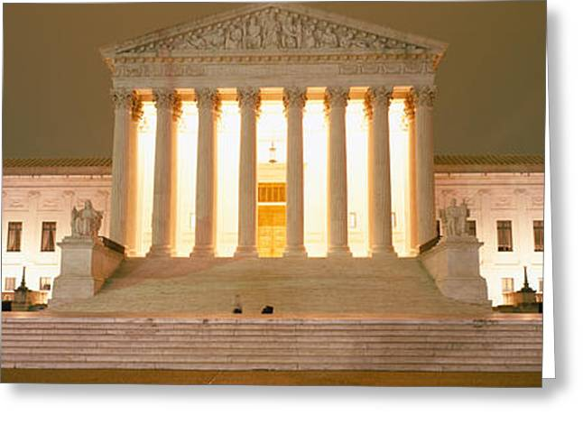Legal System Greeting Cards - Supreme Court Building Illuminated Greeting Card by Panoramic Images