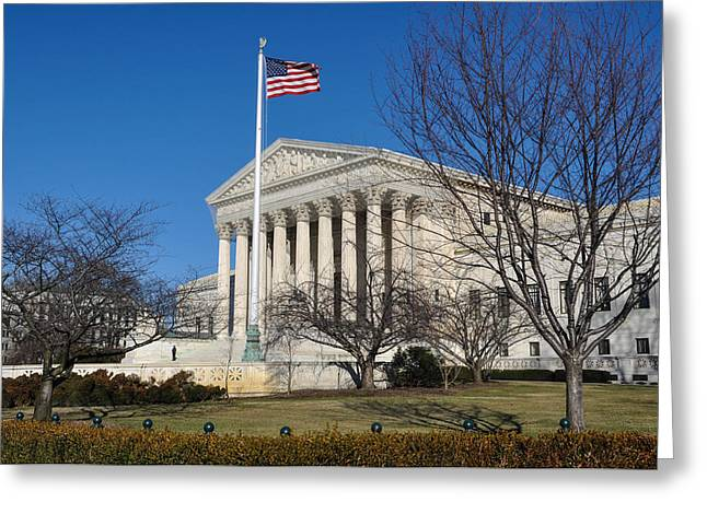 Equality Greeting Cards - Supreme Court during Winter Greeting Card by Brandon Bourdages