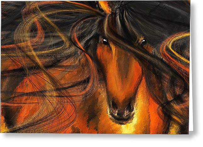 Wild Horse Greeting Cards - Equine Vagabond - Bay Horse Paintings Greeting Card by Lourry Legarde
