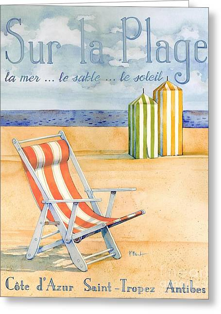 Cabanas Greeting Cards - Sur La Plage Greeting Card by Paul Brent