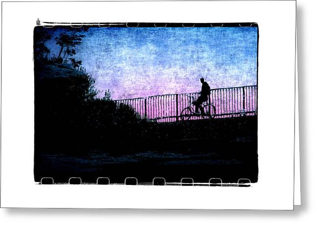 Pause Digital Greeting Cards - Sur Le Pont Du Parc Greeting Card by Roger Winkler
