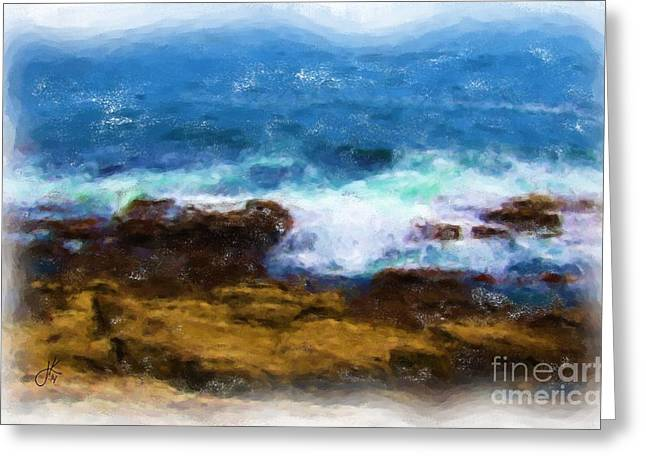 Maine Shore Paintings Greeting Cards - Surf 981 20140912 Greeting Card by Julie Knapp