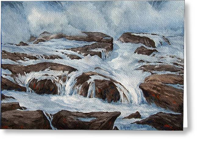 Waves Ceramics Greeting Cards - Surf and Runoff  Greeting Card by Dan Krapf