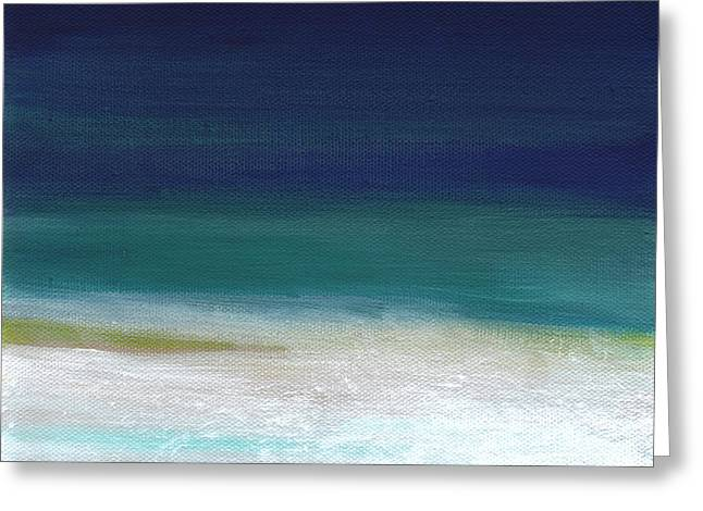 Yellow Line Greeting Cards - Surf and Sky- abstract beach painting Greeting Card by Linda Woods