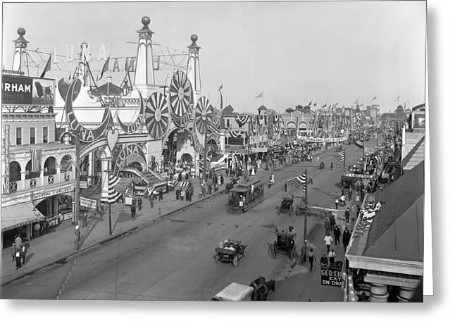 Horse And Cart Greeting Cards - Surf Avenue and Luna Park - Coney Island 1912 Greeting Card by Mountain Dreams