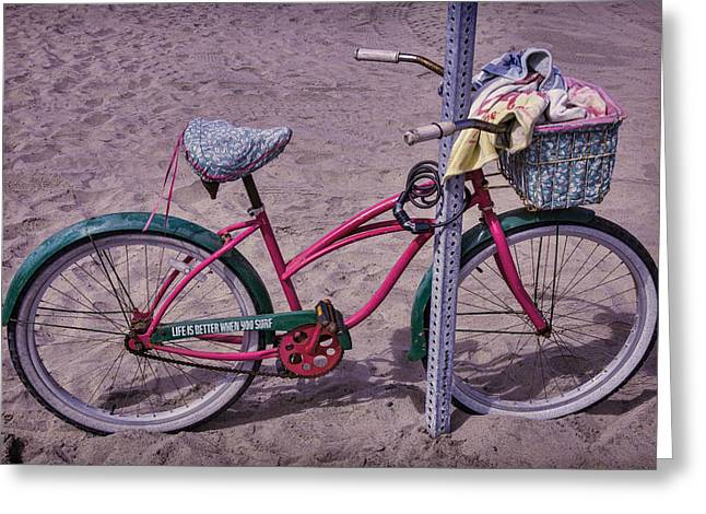 Handlebar Greeting Cards - Surf Bike Greeting Card by Garry Gay