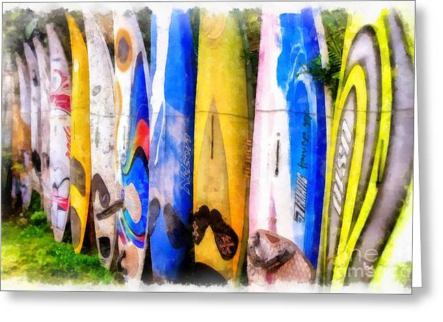 Board Fence Greeting Cards - Surf Board Fence Maui Hawaii 3 Greeting Card by Edward Fielding
