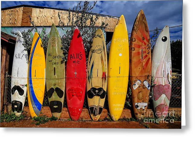 Shirt Greeting Cards - Surf Board Fence Maui Hawaii Greeting Card by Edward Fielding