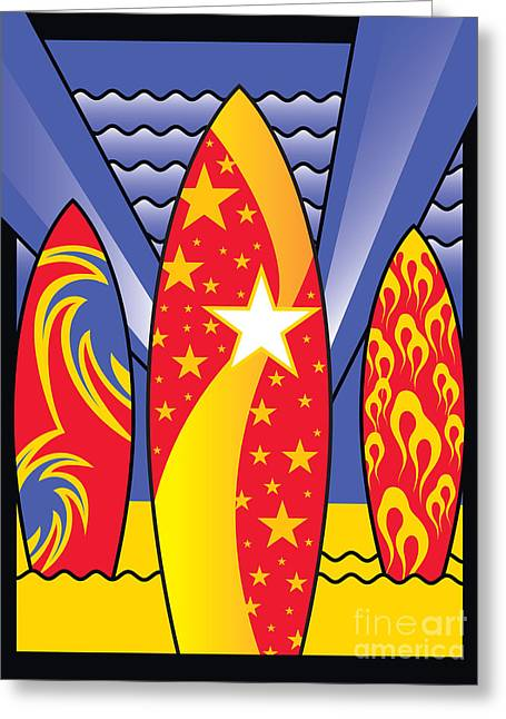 California Beach Art Digital Art Greeting Cards - Surf Boards Retro Art Deco Greeting Card by Joe Barsin