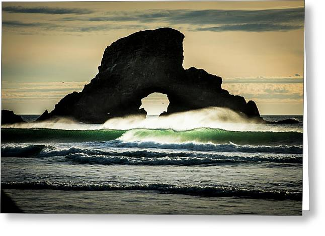Surf Breaks Near A Natural Arch  Cannon Greeting Card by Robert L. Potts