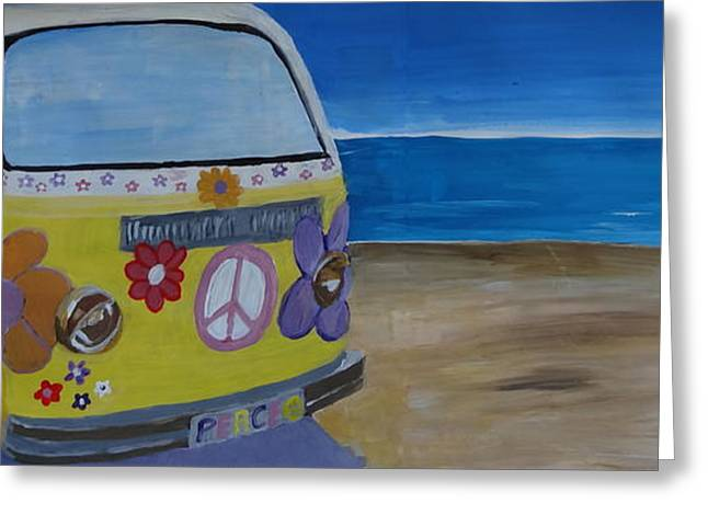 Bullie Greeting Cards - Surf Bus Series - The Lady Flower Power Peace Bus Greeting Card by M Bleichner